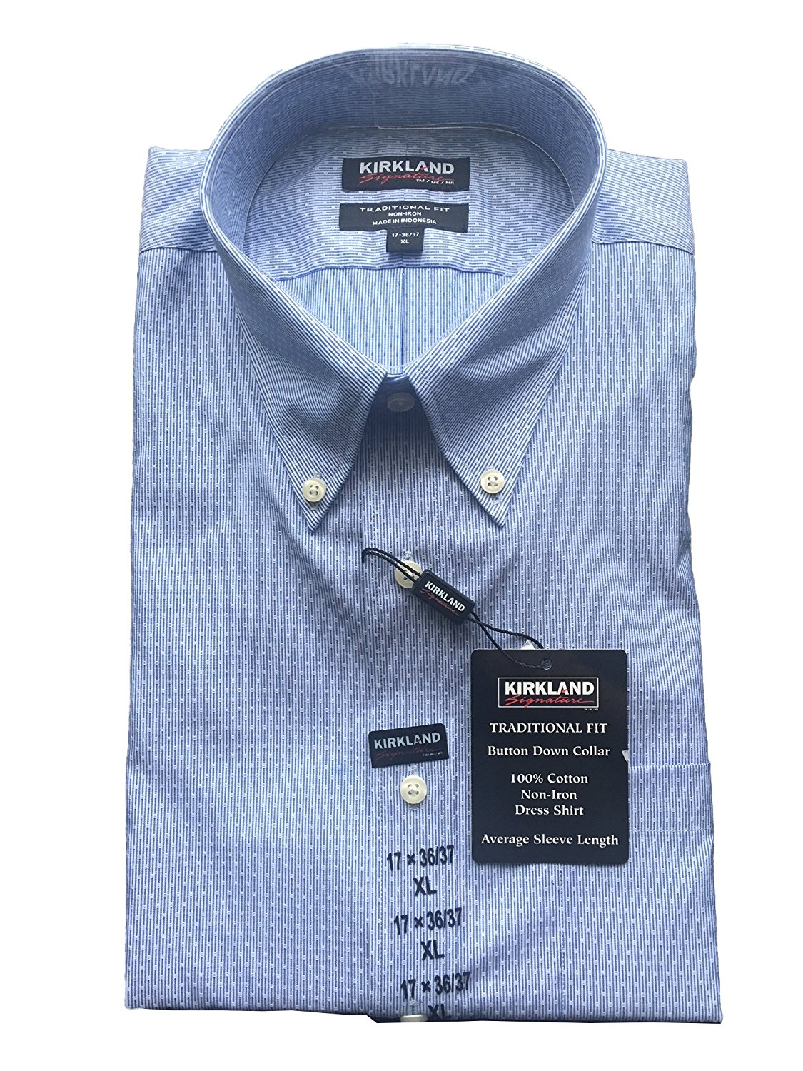 acf6cfed2eb76f Get Quotations · New Kirkland Traditional Fit Button Down Dress Shirt.  Light Blue. 17x36 37 XLarge