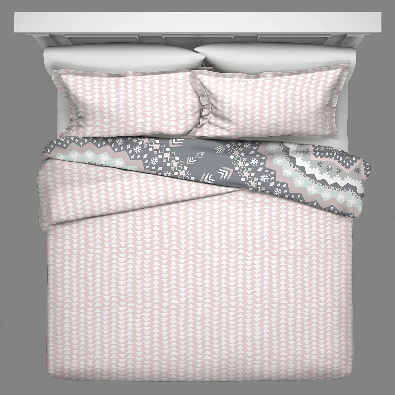 OSD 3pc Girls Light Pink White Grey Bohemian Mandala Comforter King Set, Gray, Boho Chic Tribe Southwestern Native American Themed Pattern, Girly Tribal Southwest Arrow Bedding