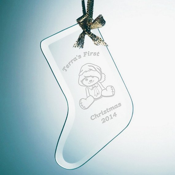 Unusual Engraved <strong>Baby</strong> <strong>First</strong> <strong>Christmas</strong> Glass Stocking Hanging Ornament