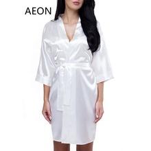 6f29fa4ee نقية اللون الأبيض البوليستر الحرير الحرير العروس وصيفه الشرف الزفاف هدية  رداء ل حفل زفاف