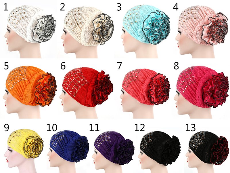 Fashion Customized Super Soft Flower Stretch Muslim Hat Cotton Casual Women Turban Bandana
