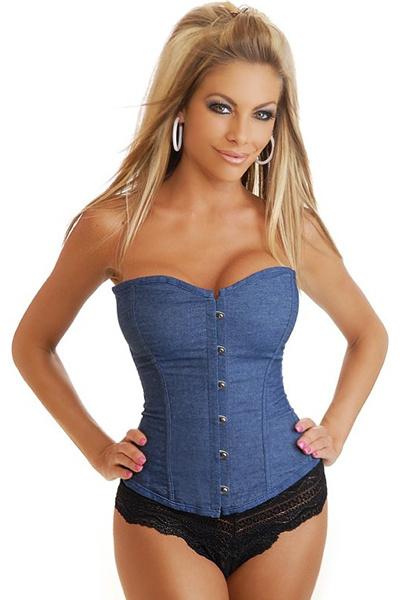 HOT SALE ! 2015 New Jeans Blue Corselet Sexy Denim Corset Women's Corselet Strapless Boned Corset And Bustiers With Thong Fast