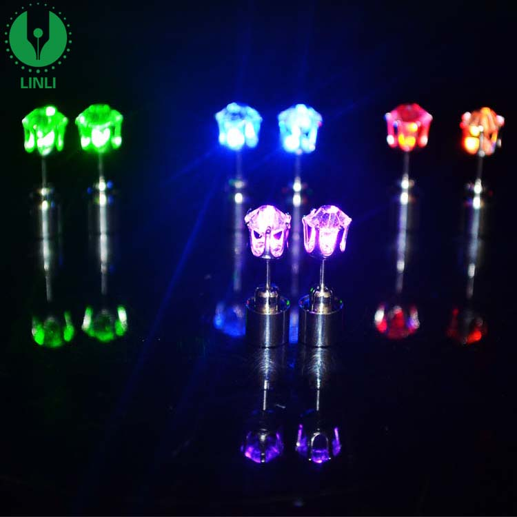 2018 Factory Custom Fashion Charm Light Up Glowing Crystal LED Earrings