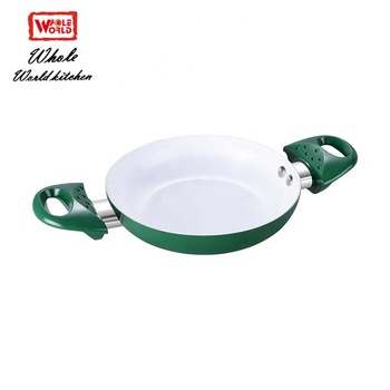 China supplier ceramic non-stick fry pan set soft handle chefline cookware color changing non stick frying