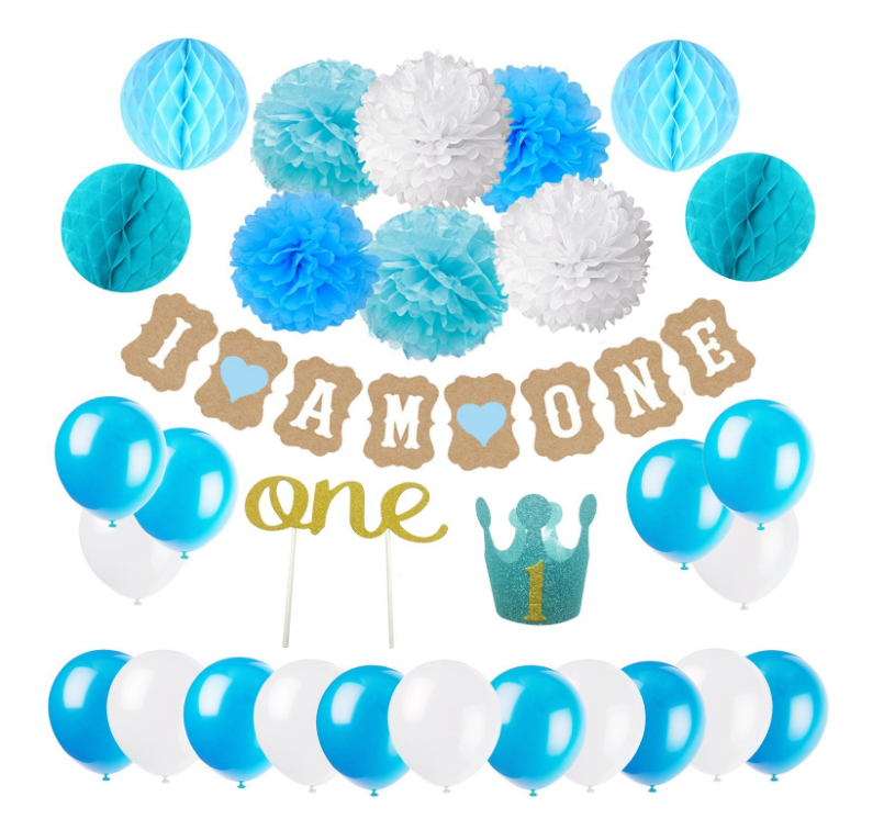 First Birthday Decoration Set For Boy 1st Baby Party Hat Gold Crown Cake Topper ONE I AM Banner