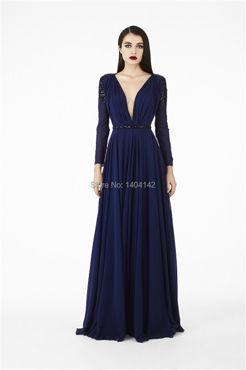 Navy Blue Chiffon Women Dress Floor Length A Line Prom ...