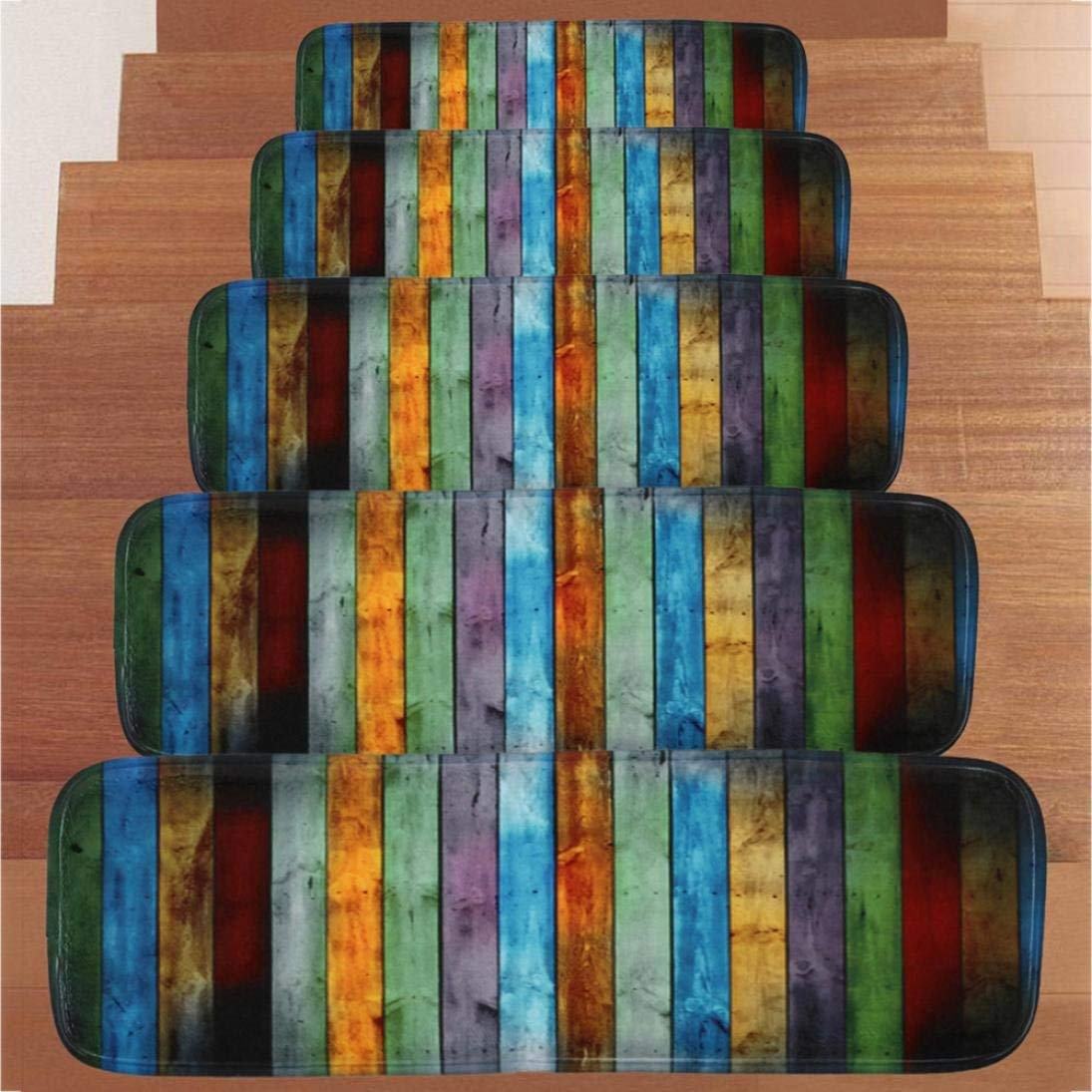 Stair Treads, Transer Indoor Phosphor Colorful Board Pattern Non Slip Rubber Backing Arctic Skid-Resistant Carpet Stair Rug/Covers/Mats - 27.6x8.7 Inch - Pack of 5 (Colorful Board)