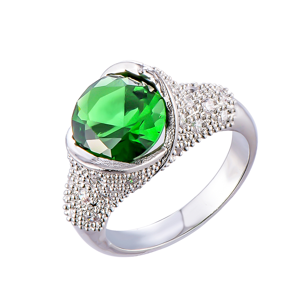 Sterling silver retro evil eye ring for women with green stone