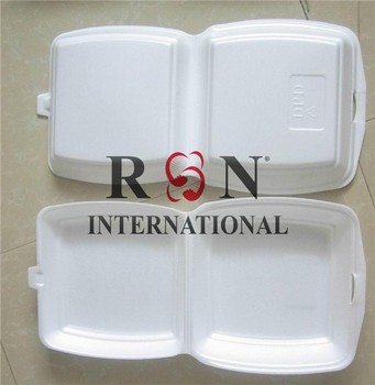 white foam plastic lunch box takeaway food container