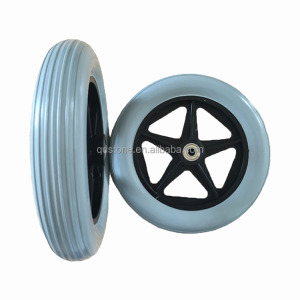 8x1.25 solid PU spoke wheel with spoke color and rim made in china