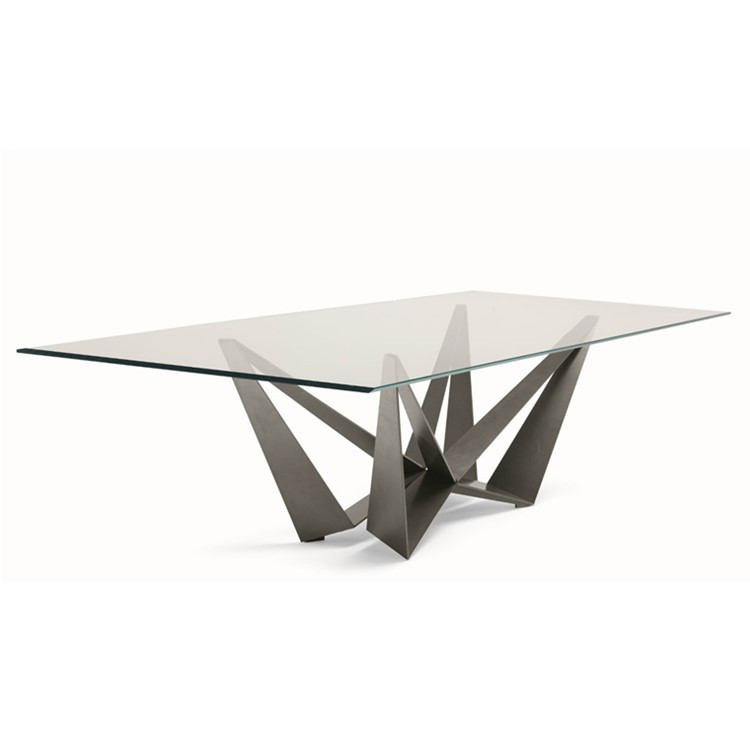 Modern W shape Base 8 Seater Dining Table Tempered Glass Dining Table Wooden Dining Table With Glass Top Designs