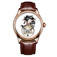 New High Quality Fashion Luxury gemstone Men Watches Real Tourbillon Watch leather Mechanical Dragon Wristwatch Automatic Clock