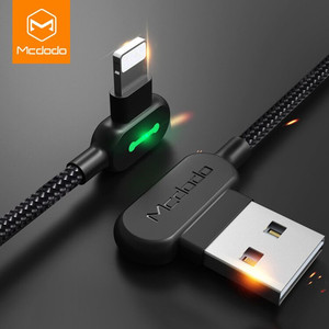 MCDODO 2.4A 3m long 90 degree led game reversible mobile phone charger micro usb/type C/8 pin Charging usb cable for iphone