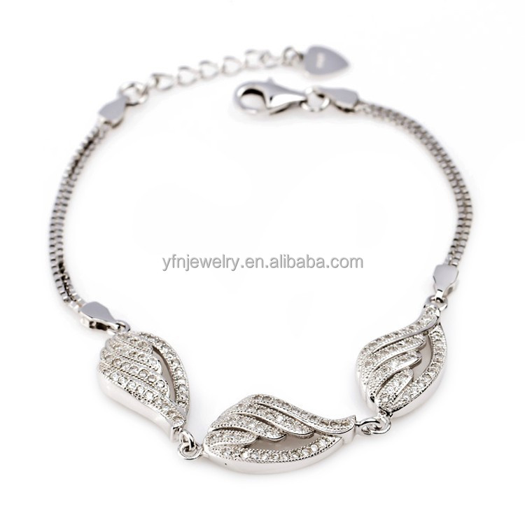 Silver Bracelet Trendy White Gold Feather Design Bt Bracelet With Lobster Clasp