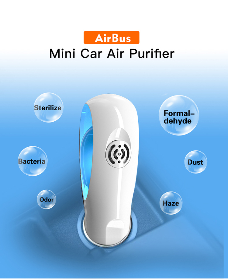 Portable Cute Car Air Purifier With Aromatherapy And Negative Ion