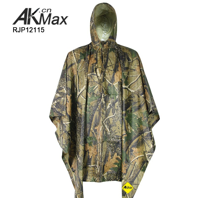 Multifunctional Camouflage Rain Jacket With Ground Sheet and Tent Purpose