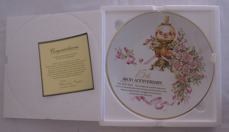 1993 Avon 15th Anniversary Plate - The Avon Rose