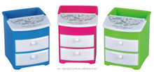 FUCHSIA, TURQUOISE, LIME GREEN, ORANGE PP PLASTIC MINI STORAGE CABINET W/2 DRAWERS