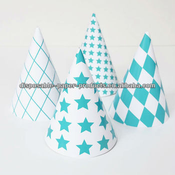 Girls princess pastel paper party cone hats caps pink for Princess cone hat template