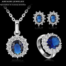 Latest Style Jewelty Sets Platinum Plate AAA Cubic Zircon Necklace Earring Ring Sapphire Set Ring Size