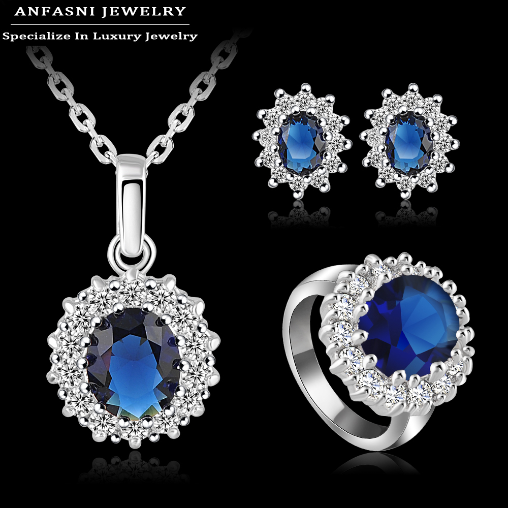 Time Limit 75 Off Latest Jewelty Set Platinum Plate AAA Cubic Zircon Necklace Earring Ring Blue