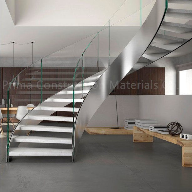 Double Stringer Steel Structure Tempered Glass Curved Staircase
