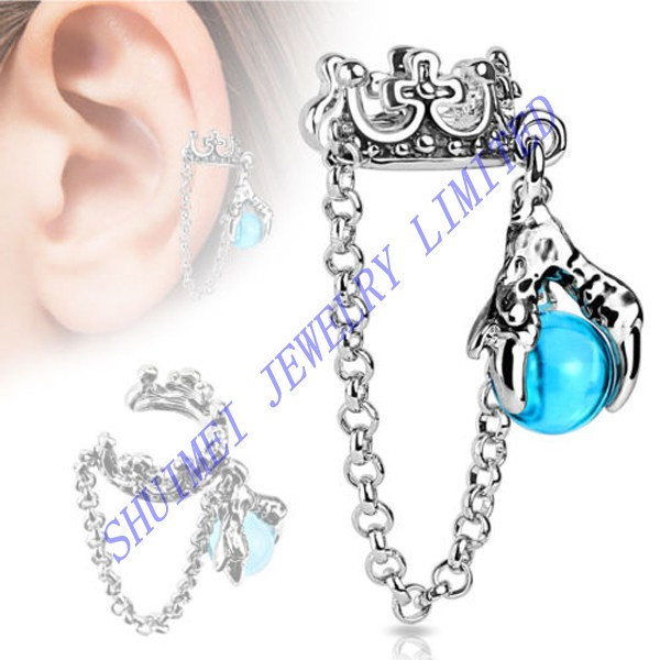 Crown With Chain Blue Dragon Ball Dangle Ear Cuff Wrap Clip On Earring Stud Non Piercing Body Jewelry Fashion New 2015
