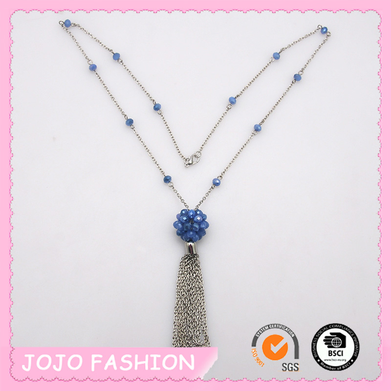 2016 latest design beads necklace imitate tassel chain bead necklace jewelry for women
