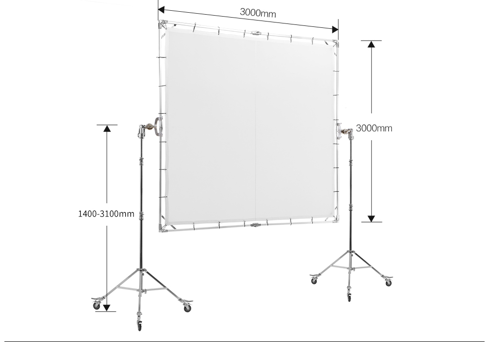 JINBEI HD-300 3x3m Photographic Transparent Board Large HD Frame Scrim Diffuser for Studio Movie Portrait Commercial Photography