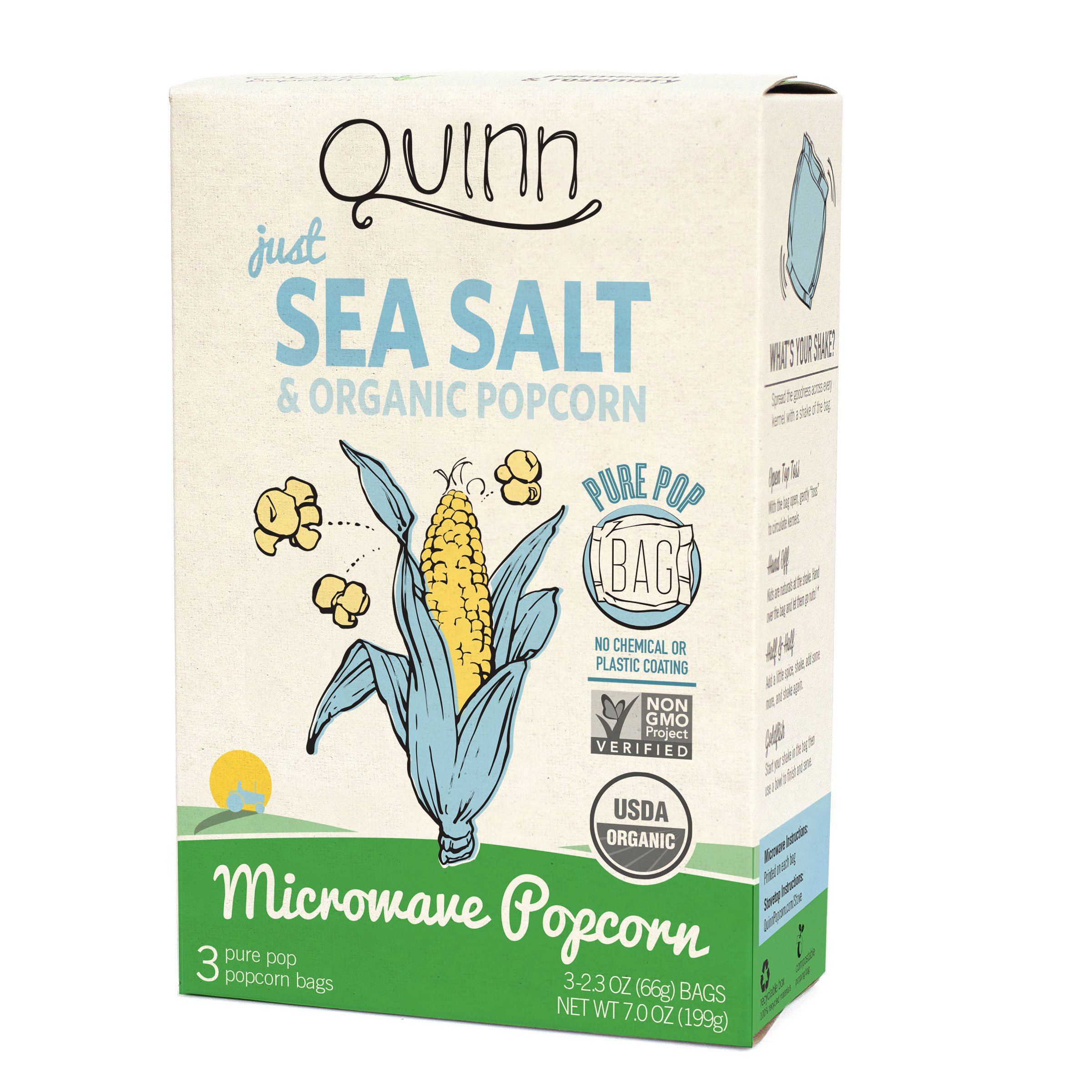 Quinn Snacks Microwave Popcorn - Made with Organic Non-GMO Corn - Great Snack Food for Movie Night {Just Sea Salt, 1 Box} 7 ounce