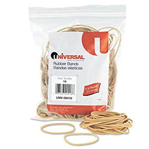 Universal Products - Universal - Rubber Bands, Size 16, 2-1/2 x 1/16, 535 Bands/1/4lb Pack - Sold As 1 Pack - General purpose rubber bands for home or office use.