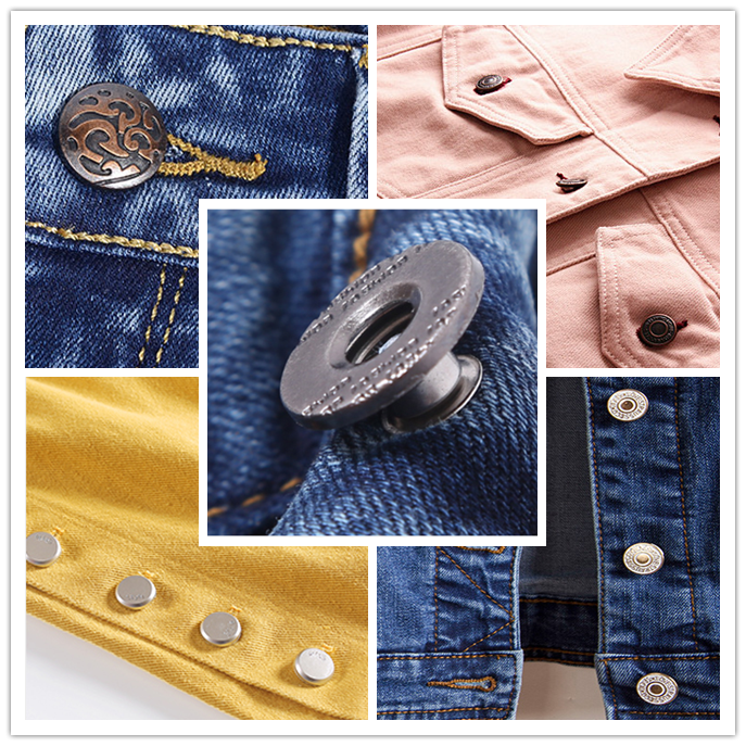 Fancy spray painting brass jeans button custom