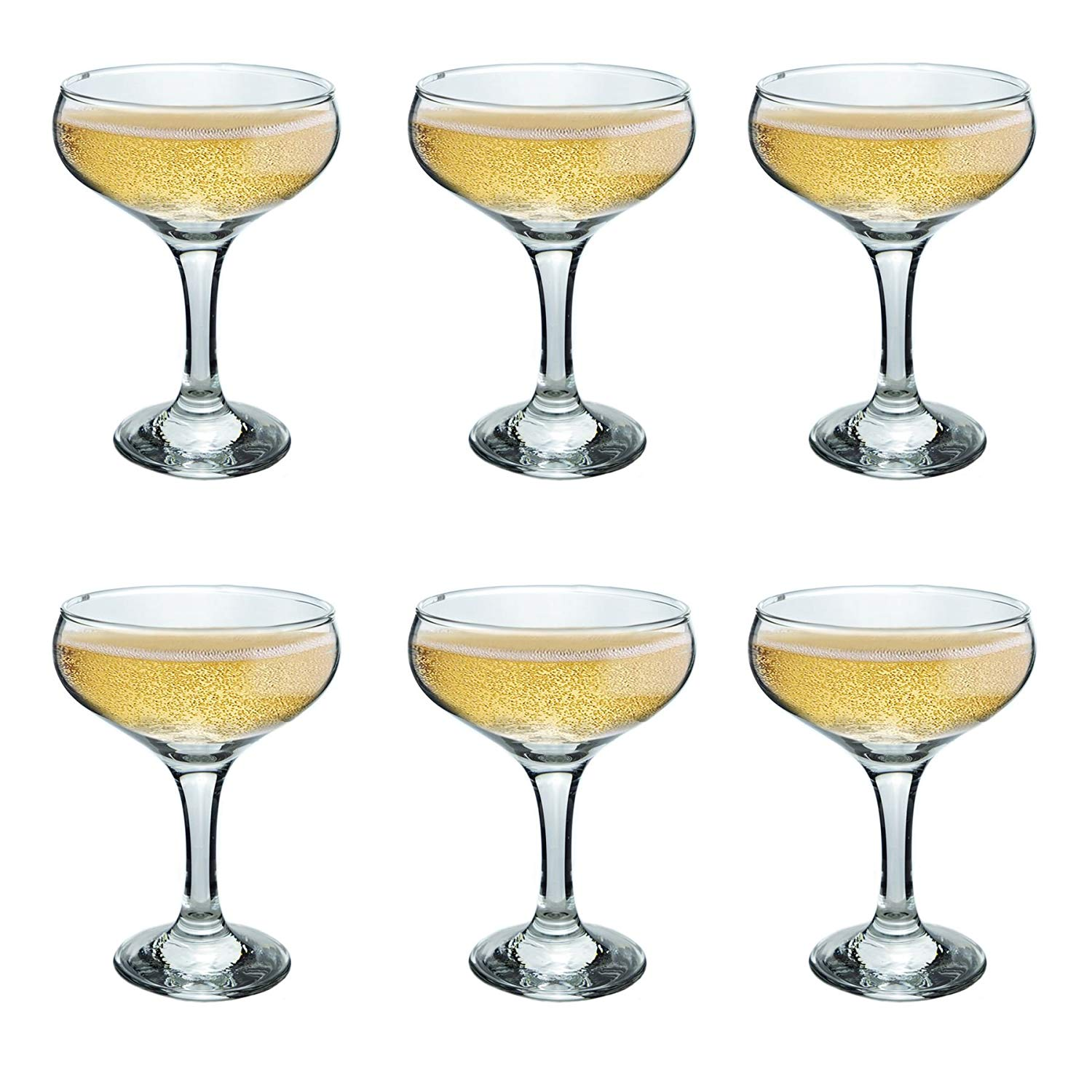 Jay Imports Cannes Gold Champagne Coupe Set OF 2 Stemware Glasses