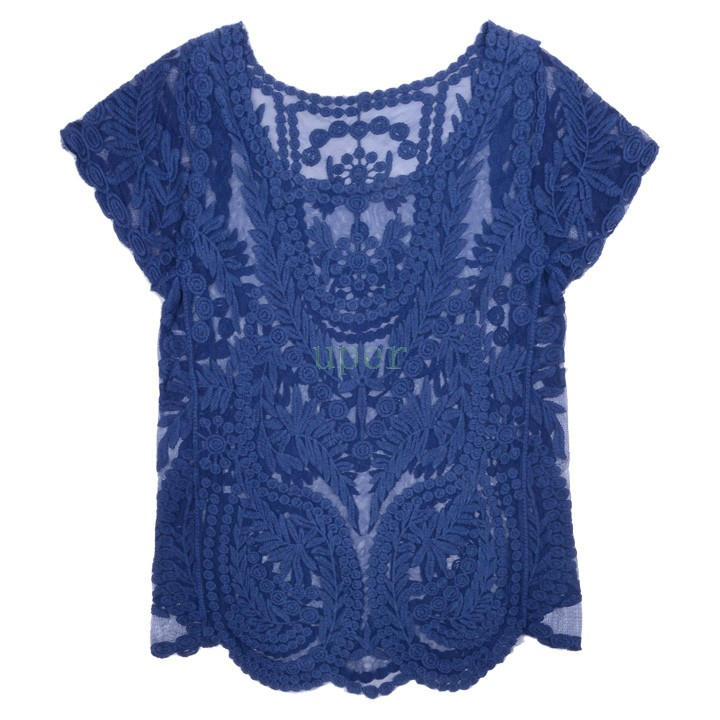 Женщины лето сексуальная выдалбливают блузка вышивка цветочные кружева крючком с коротким рукавом рубашки трикотаж