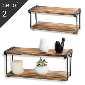 Industrial Modern 2-Tier Wall-Mounted Wood Floating Shelves with Black Metal Brackets, Set of 2