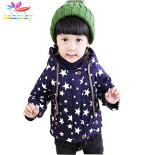 Belababy Baby Boys Winter Coat 2016 Fashion Children Long Sleeve Hoodies Jacket Kids girls Autumn Star Pattern Warm Outerwear