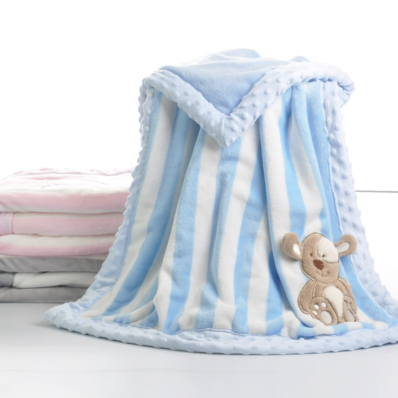 Latest design printed baby blankets 2018 soft breathable stripe flannel fleece blanket flannel blanket baby