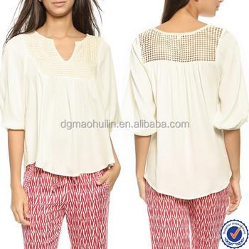 Modelos de moda roupas femininas ladies crochet top midi blusa de manga  crepe de seda chiffon da13b0d91ae0f