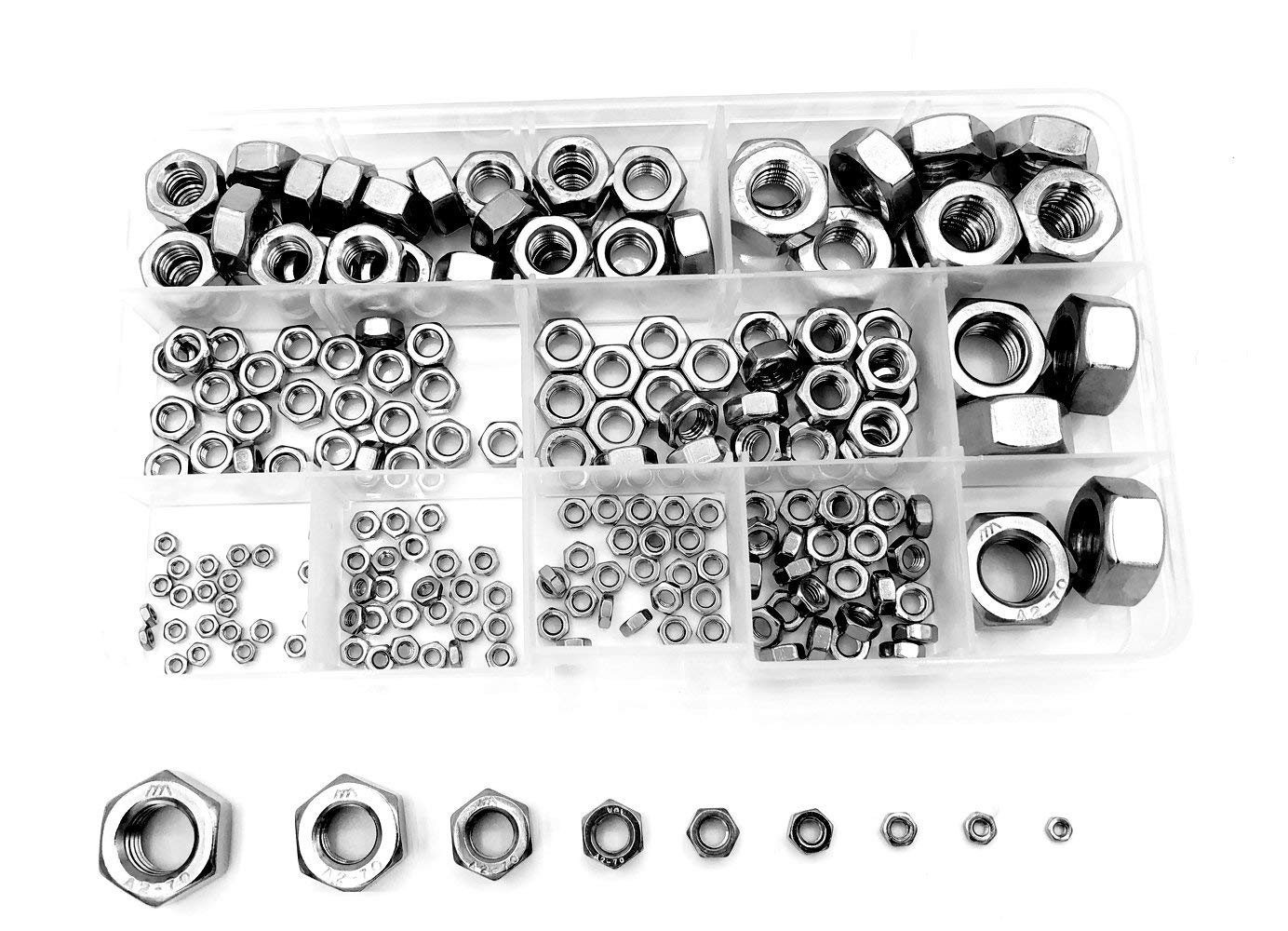 M2 M2.5 M3 M4 M5 M6 M8 M10 M12 304 Stainless Steel Hex Nuts Assortment Kit 190Pcs