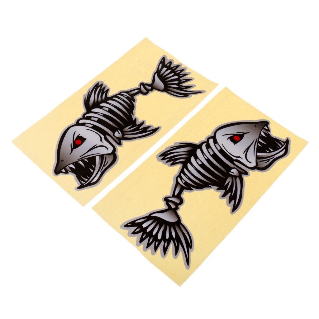 SunniMix Set of 2 Skeleton Fish Decals Stickers Fishing Boat Canoe Car Truck Kayak Graphics DIY Accessories