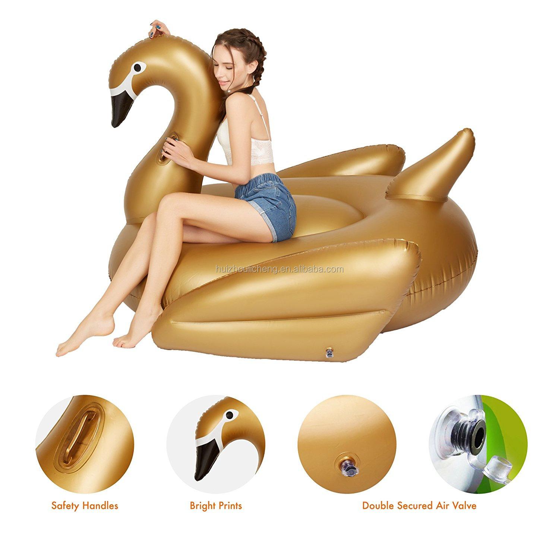 BSCI सीई कारखाने सोने तैरना पीवीसी पशु Inflatable खिलौना हंस पूल फ्लोट