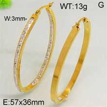 Fashion factory price stainless steel hoop earrings cc earrings gold plated color