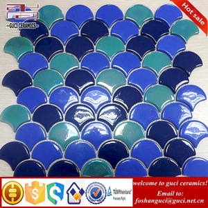 chinese supplier full body sector design crystal glass tile mosaic wall backsplash