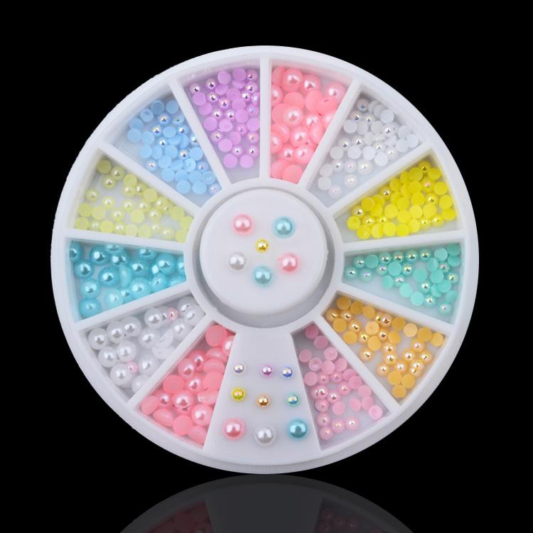 Colorful Pearl bijoux ongles strass ongles decoracion de unas nail glitter decorazioni unghie rhinestones for nails