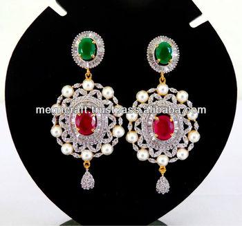 American Diamond Earrings Jewellery Indian Cubic Zirconia Earring Online Whole