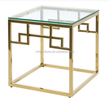Brass Polish Gold Glass Stainless Steel Side Table with Glass Top