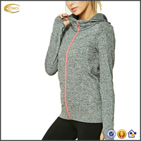 2017 NEW wholesale womens sports zip plain muscle fit hoodie with thumb hole