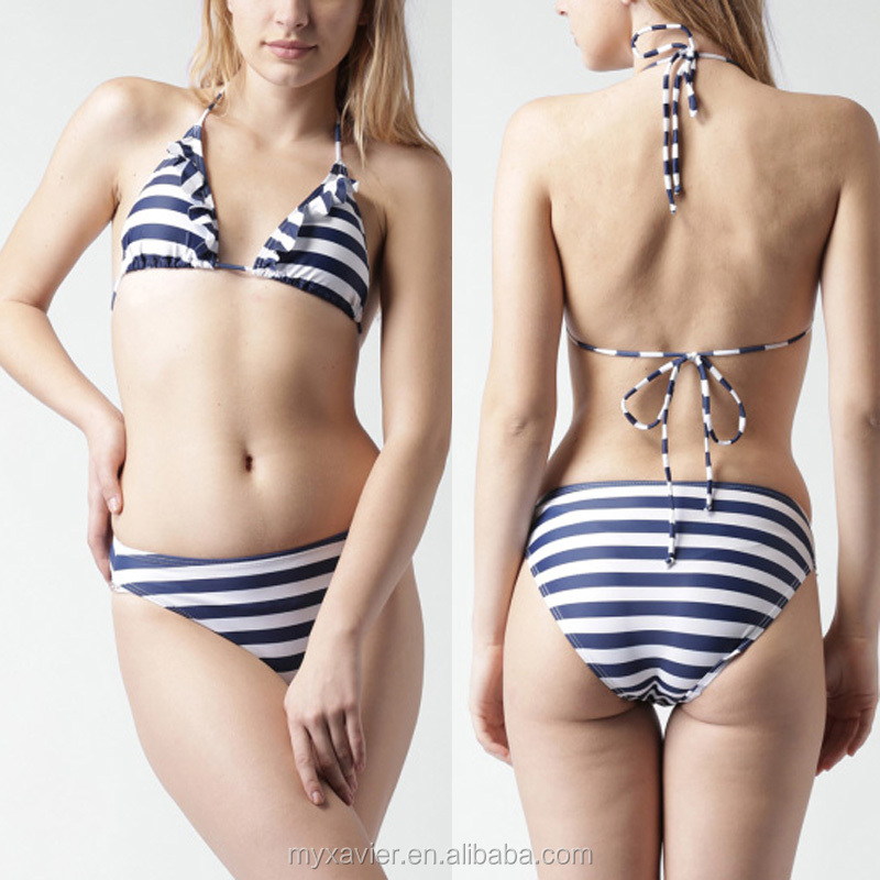 White and navy striped mid-rise bikini swimwear with a tie-up details