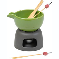 solid color ceramic chocolate fondue with stainless steel stand