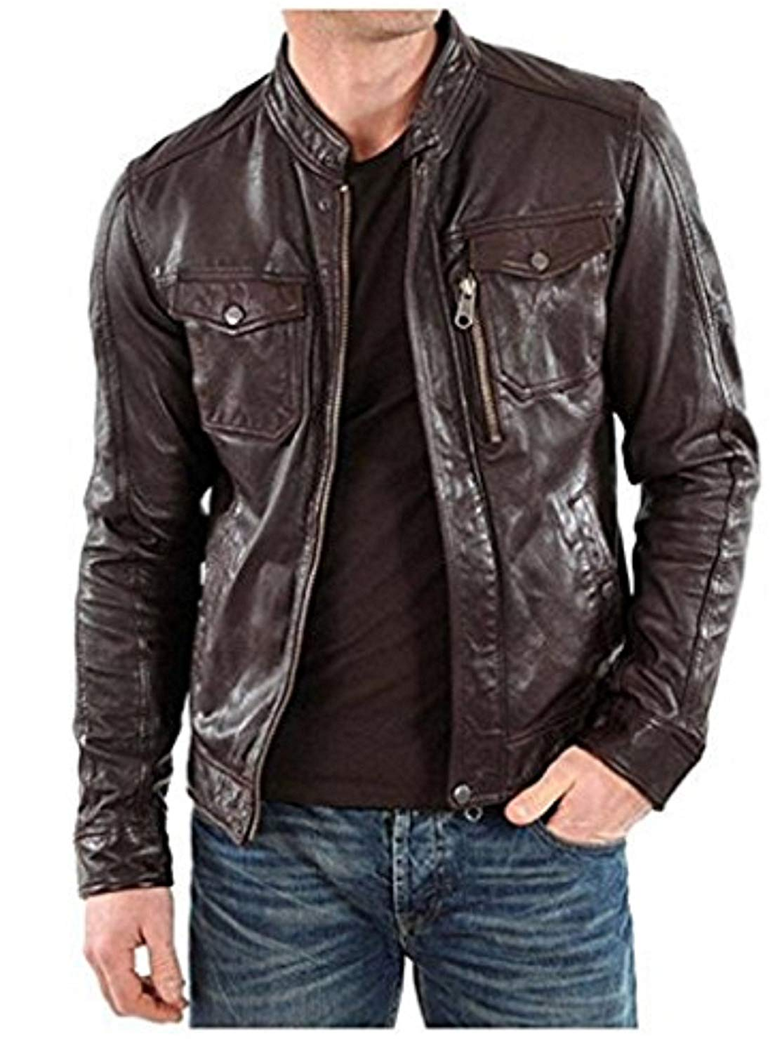 Leather Skin Design Men Pure 100% Lambskin Leather Solid Biker Leather Jacket